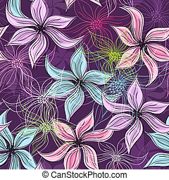 Repeating violet floral pattern with vivid and transparent...