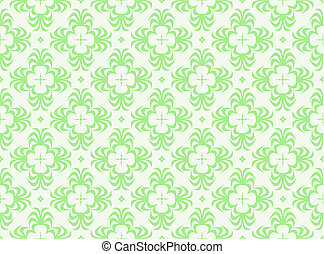 Retro green wallpaper with repeating pattern