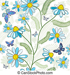 Repeating white floral pattern with white-blue flowers and ...