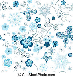 Repeating winter floral pattern