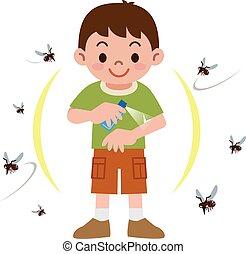 repellent insecte, pulvérisation, garçon