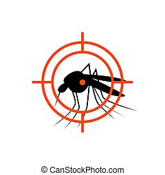 Repellent mosquito stop aim sign icon. Malaria pest insect anti mosquito warning symbol.