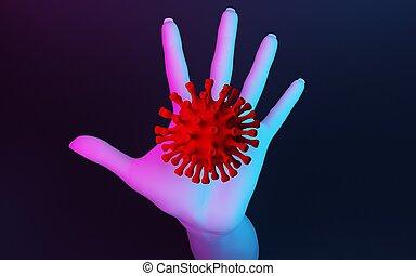 repels, mano, coronavirus, concepto, molécula