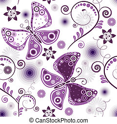 repeterande, blommig, white-violet, mönster