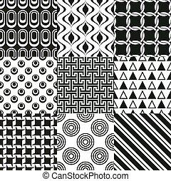 repeterat, svart, geometrisk, bakgrund