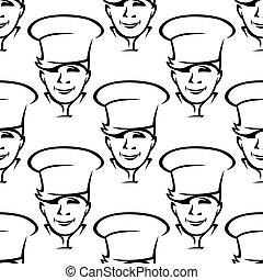repetición, patrón, de, sonriente, chefs jóvenes