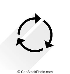 repetición, plano de fondo, señal, flecha negra, blanco, icono