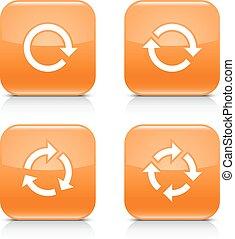 repetición, refrescar, señal, rotación, reload, naranja, icono