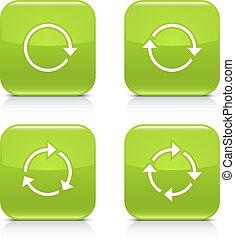 repetición, reload, rotación, verde, flecha, refrescar, icono