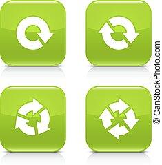 repetición, reload, señal, rotación, verde, flecha, refrescar