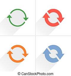repetición, restablecer, color, flecha, blanco, icono, refrescar
