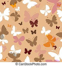 repetindo, padrão, com, borboletas