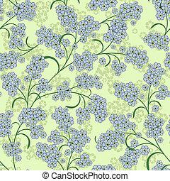 repetindo, verde, padrão floral