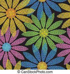 repetir, halftone, flor, plano de fondo