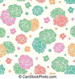 repetir, jardim, coloridos, rosa, seamless, vetorial, estrelas, padrão, floral, ditsy