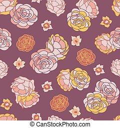repetir, jardim, rosa, seamless, vetorial, padrão, deserto
