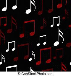 repetir, padrão, notas, música, fundo, azulejo, pretas, branco vermelho