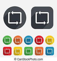repetir, sinal., símbolo., refrescar, icon., volta
