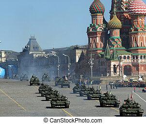 repetitie, van, militaire parade, op, rode plein, moskou,...