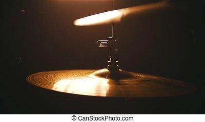 Repetition. Studio light on drumkit. playing on raid