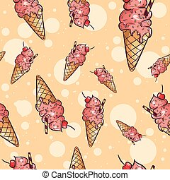 Repetitive background of icecream cones with cherry fruit and sprinkles. Repetitive summer background for kids.