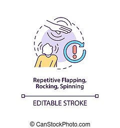 Repetitive flapping, rocking, spinning concept icon. Autism symptom abstract idea thin line illustration. Stereotyped motor movements. Vector isolated outline color drawing. Editable stroke