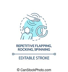 Repetitive flapping, rocking, spinning concept icon. Autism symptom abstract idea thin line illustration. Self-stimulatory behavior. Vector isolated outline color drawing. Editable stroke