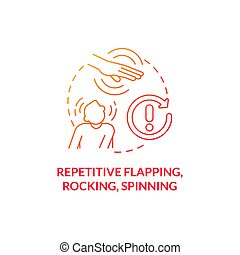 Repetitive flapping, rocking, spinning concept icon. Autism symptom abstract idea thin line illustration. Excessive blinking. Head banging. Restrictive behavior. Vector isolated outline color drawing