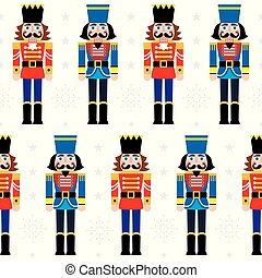 repetitivo, -, patrón, cascanueces, vector, estatuilla, navidad, fondo blanco, copos de nieve, seamless, soldado, ornamento