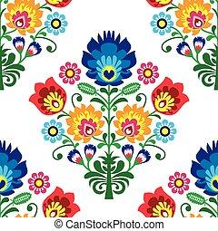repetitivo, -, patrón, vector, gente, diseño, polaco, tradicional, flores, seamless, arte