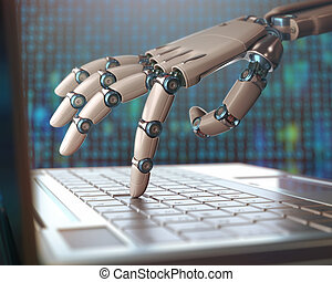 Robotic hand, accessing on laptop, the virtual world of information. Concept of artificial intelligence and replacement of humans by machines.