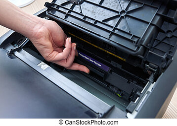 replacement of the cartridge in laser printer - replacement ...