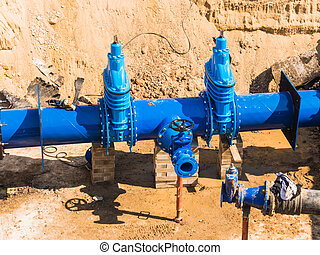 Replacement of water pipes networks.  Waterworks main pipeline for the supply