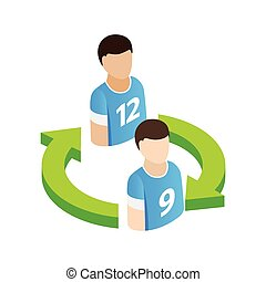 Replacement players in football isometric 3d icon on a white background