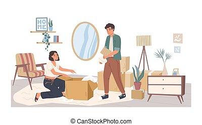 replacer, concept., homme, vecteur, meubles, appartement, ...