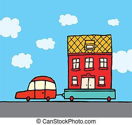 replacer, voiture, /, maison mouvement, maison, caravane