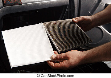 replacing cabin air conditioner filter of car