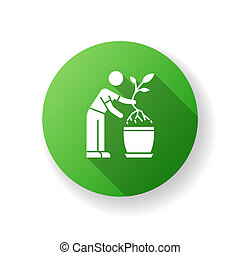 Replanting green flat design long shadow glyph icon. Houseplant caring. Transplanting, repotting. Plant growing. Potting plant, changing planter. Planting seedling. Silhouette RGB color illustration