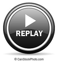 replay black circle glossy web icon