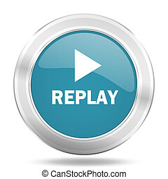 replay icon, blue round glossy metallic button, web and mobile app design illustration