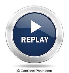 replay icon, dark blue round metallic internet button, web and mobile app illustration
