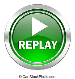 replay icon, green button