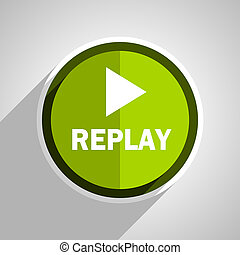 replay icon, green circle flat design internet button, web and mobile app illustration