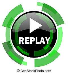 replay icon, green modern design isolated button, web and mobile app design illustration