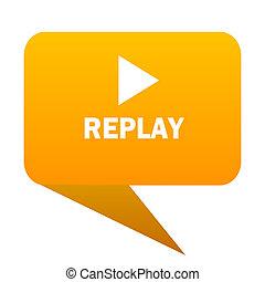 replay orange bulb web icon isolated.
