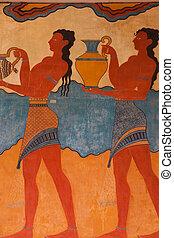 Replica of Fresco at Knossos Archeological Site in Crete, Greece