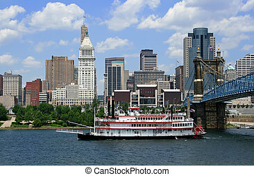Cincinnati, Ohio - Replica steamboat travels down the Ohio...