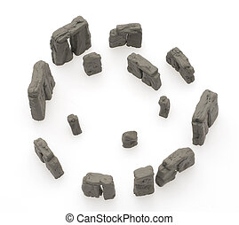 Replica Stone Henge on White Background.