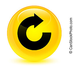Reply arrow icon glassy yellow round button