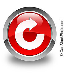 Reply arrow icon glossy red round button